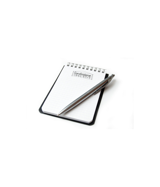 Clean sheet of notebook with a silvery fountain-pen from above. Isolated on white.
